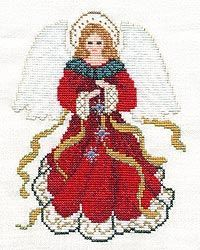 """Christmas Angel - cross stitch  We did this in church as giant wall art. I took the pattern and cut 1"""" squares of paper. Each person did a 10"""" square section. We put several sections up each Sunday with a big finish on Christmas Eve. BEAUTIFUL!"""
