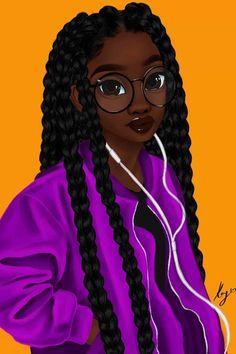 Art Black Love, Black Girl Art, Black Art Painting, Black Artwork, Art Afro Au Naturel, Music Canvas, Canvas Artwork, Drawings Of Black Girls, Black Girl Cartoon