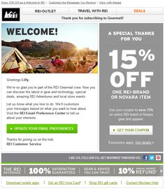50 best promo code coupon emails images on pinterest coupon rei welcome email prompt to set email preferences promo code malvernweather Images