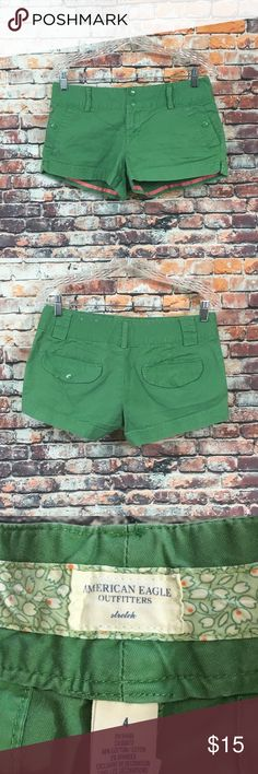 American Eagle Stretch Shorts Womens Size 4 American Eagle Stretch Shorts Womens Size 4 Color Green       See pictures for measurements.     Good condition American Eagle Outfitters Shorts