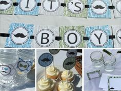 Mustache Baby Shower Decoration Package  by BusyChickadees on Etsy, $20.00