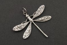 Sterling Silver Dragon Fly Link Elegant Modern Shape by Beadspoint, $12.99