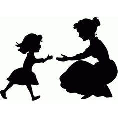 Silhouette Design Store: little girl running to mother
