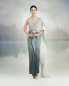 Traditional Thai Clothing, Traditional Fashion, Traditional Outfits, Thai Wedding Dress, Wedding Dress Suit, Filipino Fashion, Thai Fashion, Cute Dresses, Beautiful Dresses