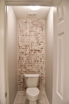DIY Faux German Schmear Brick Wall of - Wallpaper Painted Brick Walls, Brick Accent Walls, Fake Brick Walls, Faux Brick Wall Panels, Brick Interior, Farmhouse Interior, Interior Ideas, Interior Design, German Schmear