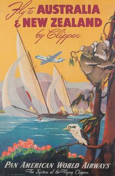 AUSTRALIA & NEW ZEALAND Pan Am Vintage style travel poster  {NOTE}