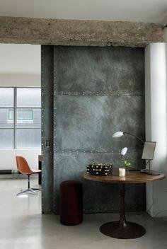 Basement Sliding Door To Laundry/Utility Room #industrial #hardware  #specialty #custom