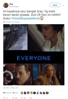 Ini kayaknya seru banget bray. Yg main keren-keren gilaaak. Duh 29 Nov ini nihhh!! Goks! #OrientExpressMovie