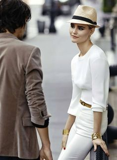 Keep the Glamour: Stylish white on white ensemble with complimentary accessories.
