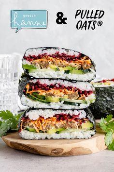 Healthy Summer Recipes, Super Healthy Recipes, Healthy Snacks, Sushi Sandwich, Onigirazu, Happy Foods, Food Goals, Vegetarian Recipes Dinner, Vegan Foods