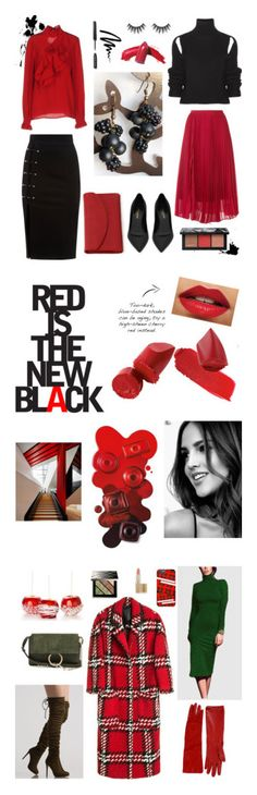 """""""All about red💋"""" by raizonblue ❤ liked on Polyvore featuring Calvin Klein 205W39NYC, Yves Saint Laurent, Bobbi Brown Cosmetics, Le Ciel Bleu, Stella Jean, Dopp, NARS Cosmetics, beauty, Chloé and Alessandra Rich"""
