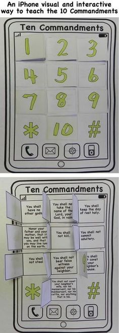 An iphone visual and interactive way to teach the 10 commandments. This craft will help you prepare your Sunday school lesson on Exodus 19:18 - 20:18 on the Bible story of the Ten Commandments.