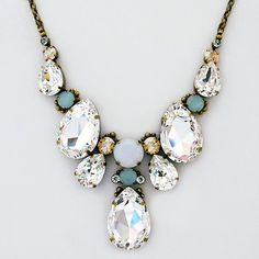Sorrelli Riverstone. A glistening teardrop statement necklace, Wear separately or layer with other necklaces. Fab 4 bridal or evening wear. https://perfectdetails.com/Sorrelli-Riverstone.htm