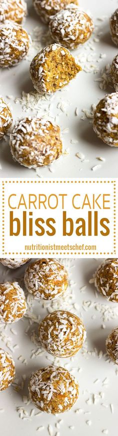 Carrot Cake Bliss Balls - Taste just like carrot cake, but it so much better for you! Get the recipe at nutritionistmeetschef.com