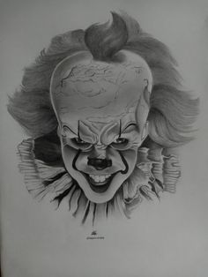 A graphite pencil drawing of Pennywise. Scary Drawings, Joker Drawings, Realistic Pencil Drawings, Halloween Drawings, Cool Art Drawings, Pencil Art Drawings, Art Drawings Sketches, Mago Tattoo, Joker Sketch
