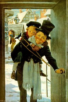 """Jessie Willcox Smith : Bob Cratchit and Tiny Tim, Illustration for """"A Christmas Carol"""", written by Charles Dickens Dickens Christmas Carol, Christmas Past, Xmas, Christmas Shopping, Victorian Christmas, Vintage Christmas Cards, Vintage Cards, Christmas Postcards, Jessie Willcox Smith"""