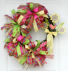 Spring Wreath Spring Grapevine Wreath Whimsical by RedbirdWreaths