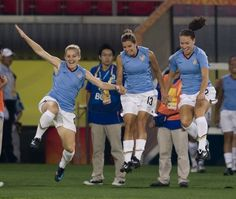 """""""The New Kids"""" In 2008, when Amy Rodriguez, Tobin Heath, and Lauren Cheney made the roster for the Beijing Olympics, they started a tradition, jumping onto the field before each game. 4 years and many games later, the tradition continues."""