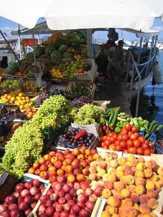 Boat market in Aegina Greece