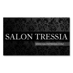 Chic Black Damask Stylist Salon Spa Business Card