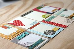 Handmade journaling cards, project life