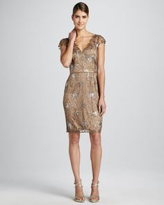 Sequined Lace Cocktail Dress - Neiman Marcus