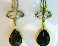 1920s Vintage style earrings framed Art Deco dramatic black drop gold filled hooks