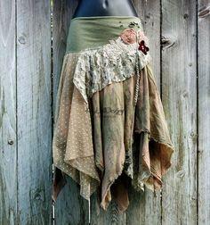 One of a kind bohemian hobochic tattered skirt KS069 by KayLim