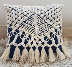 Boho Style Macrame Pillow Cover for a Square by KnitKnotSpace