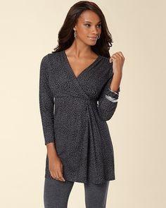 My Soma Wish List Sweeps  Soma Intimates Soft Jersey Side Twist Tunic Luxe Leopard Mini Black #somaintimates