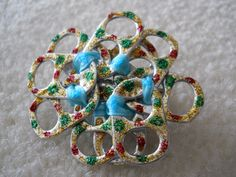 Original, Handmade Pop Tab Pin made with Ribbon and Glitter Glue  Size - 2 x 2 1/4""