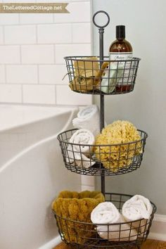 Tiered Metal Basket Bathroom Organizer