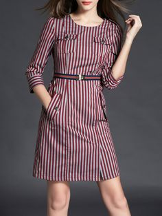#AdoreWe Azimao Pockets Elegant Stripes Crew Neck Midi Dress - AdoreWe.com