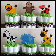 Mini Jungle Diaper Cakes SET OF 6, Safari Baby Shower, Baby Shower Centerpiece,Gender Neutral Baby Shower, Gender Neutral Diaper Cakes op Etsy, 39,49 €