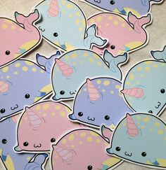 Chibi Narwhal kawaii sticker set of twelve in pastel colours, fairy kei, lolita, pastel goth cute sticker set by Drixproductions on Etsy https://www.etsy.com/listing/236443696/chibi-narwhal-kawaii-sticker-set-of