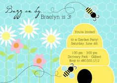 Reese's 1st birthday  Bumble Bee Party  Buzz Buzz Garden Collection by PetitePartyStudio, $15.00
