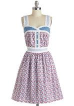 cute country dress! Perfect for the calgary stampede! (Knitted Dove Blue Ribbon Bouquet Dress | Mod Retro Vintage Dresses | ModCloth.com)