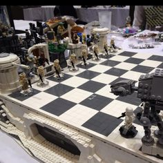 Lego Star Wars chess set. There was one for each movie. I so want them! Bricks by the Bay Lego convention