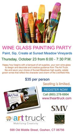 Wine Glass Painting Party at Sunset Meadow Vineyards