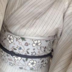 夏下井紬とFoglia帯 #kimono, #Foglia,#obi