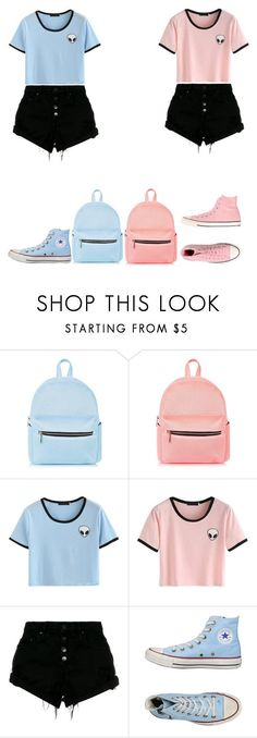 """They twinning"" by melanin-flower ❤ liked on Polyvore featuring Nobody Denim and Converse"