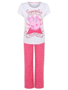 A superstar Mummy deserves to spend a day on the sofa in this lovely pyjama set, relaxing and being pampered. The slogan tee and pink bottoms are each made u. Peppa Pig Outfit, Pajama Set, Pajama Pants, Asda, Pj Sets, Latest Fashion For Women, The Ordinary, Superstar, Kids Toys