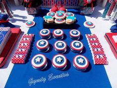 Captain America birthday party! See more party ideas at CatchMyParty.com!