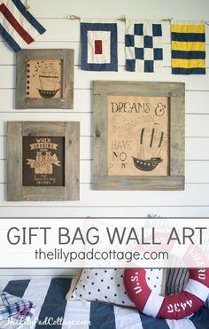 Easy Gift Bag Wall Art - turn inexpensive gift bags into cute wall art!