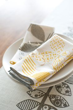Hand Printed Cloth Napkins, Sunshine Yellow, SET of SIX, Anna Joyce Textile Collection $42