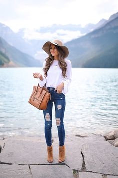 white blouson top ($35) // Good American Jeans // wool floppy hat peep toe booties // Celine handbag // monogramme...