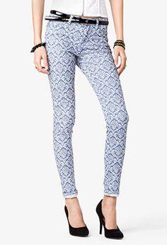Damask Print Skinny Jeans | FOREVER21