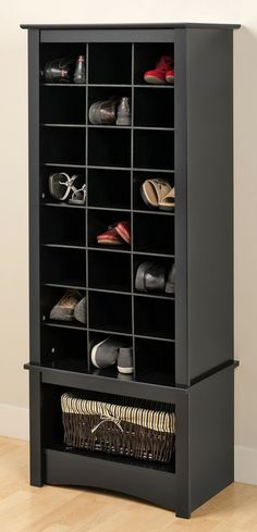 Black Tall Shoe Cubbie Cabinet - Prepac hide your favorite shoes at the back of the closet! Our stylish tall shoe storage cabinet is a perfect fit for any foyer, mudroom, entryway or bedroom. Get your shoes up off the floor an Shoe Storage Cabinet, Cubby Storage, Locker Storage, Extra Storage, Entryway Cabinet, Yarn Storage, Cabinet Closet, Laundry Storage, Hidden Storage