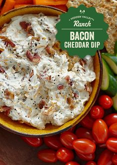 Everything tastes better with bacon. Given Hidden Valleys Bacon and Cheddar Dip recipe a try. Appetizer Recipes, Keto Recipes, Dinner Recipes, Cooking Recipes, Bacon Appetizers, Easy Recipes, Cold Dip Recipes, Party Dip Recipes, Party Dips