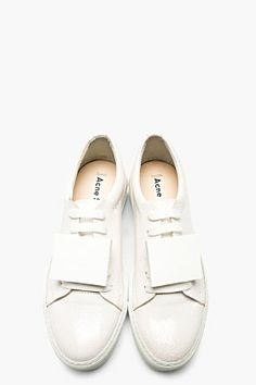 ACNE STUDIOS White Cracked Leather Adriana Sneakers